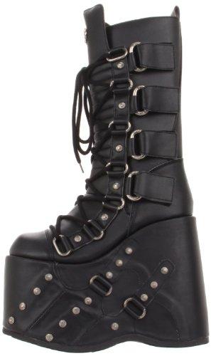 Demonia Goth Punk Gogo Cyber Stiefel Stack-318 mattschwarz Gr.37 (Gogo Stiefel Für Kinder)