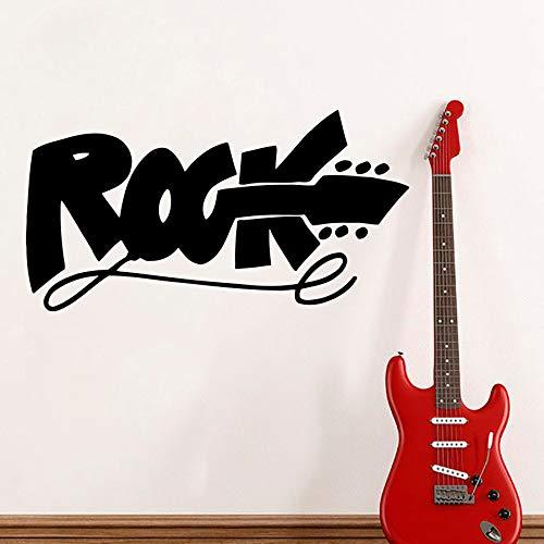 zhuziji Heißer Moderne Musik Studio Wandtattoo Zitat Rock Zeichen E-Gitarre Wandaufkleber Für Kinder Teen Zimmer Hard Rock Club 57x106 cm
