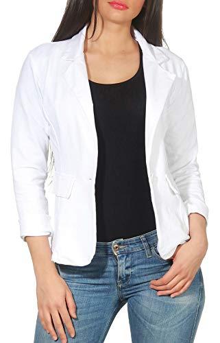 Malito Damen Blazer in Unifarben | Kurzjacke mit Knopf | Jersey Sakko im Basic Look | Jacke 1654 (weiß, XL) - Baumwolle Ein-knopf-blazer