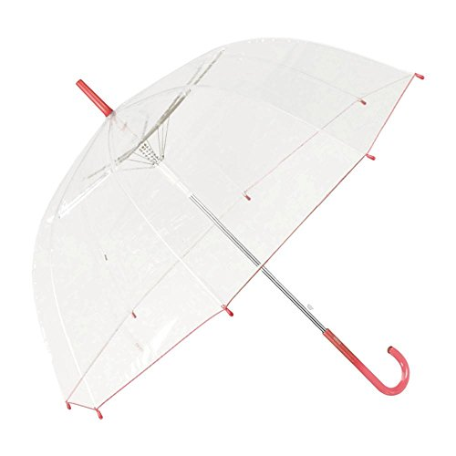Regenschirm Transparent Durchsichtig Glockenschirm Automatik Damen, Farbvariante:rot
