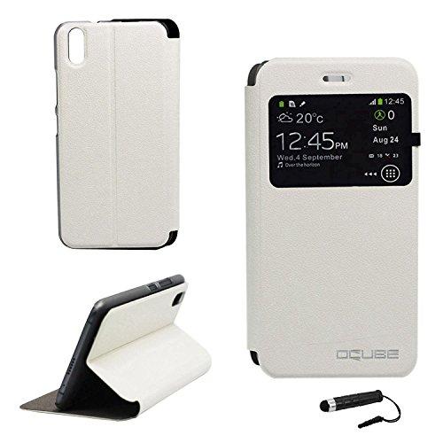 Owbb Hülle für Ulefone Paris Handyhülle Hard Plastik PU Ledertasche Flip Cover Tasche Hülle Case mit Stand Function Retro Klapphülle Design Weiß