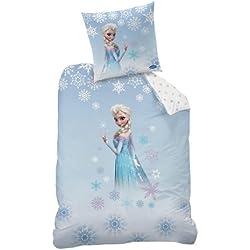 CTI 042267 - Juego de funda de edredón y almohada (algodón, 135 x 200 cm y 80 x 80 cm), diseño de Frozen de Disney