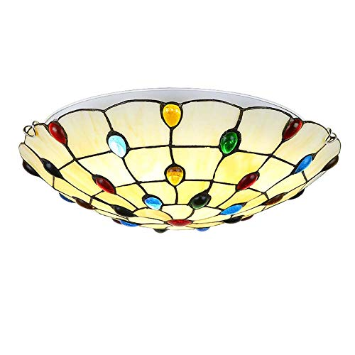 ACTW Tiffany Style Deckenleuchte Kreative Glasmalerei Deckenleuchte, Schlafzimmer Esszimmer Balkon Gang Mittelmeer Anhänger Deckenleuchten, E27, (12/16/20 Zoll verfügbar)-30 (Nouveau Beleuchtung Art Anhänger Stil)