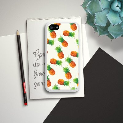 Apple iPhone 5s Housse Étui Protection Coque Ananas Été Années 90 Housse en silicone blanc