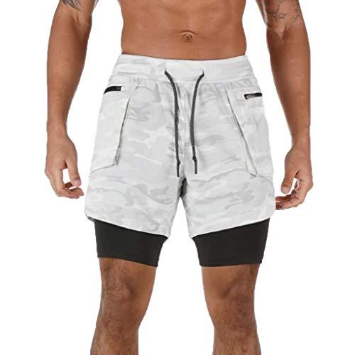 serliyHerren 2 in 1 Shorts Schnell trocknend Laufshorts Männer Fitness Laufhose Sport Hosen Trainingshose Mit Eingebaut Taschen