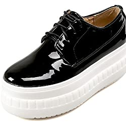 ZQ gyht Scarpe Donna - Sneakers alla moda - Tempo libero / Casual - Creepers / Punta arrotondata - Plateau - Vernice - Nero / Bianco , black-us5 / eu35 / uk3 / cn34 , black-us5 / eu35 / uk3 / cn34
