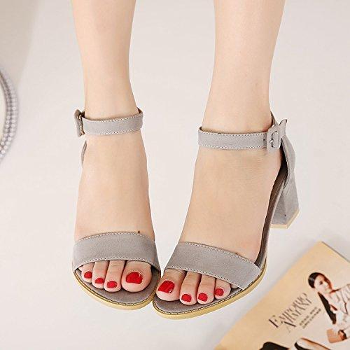 Damen Sandalen mit High Heels Blockabsatz Anti-Rutsch Fashion Bequeme Elegante Schnalle Sandalen Pumps Grau