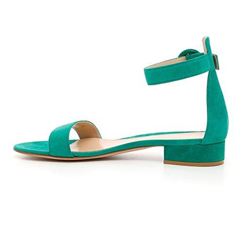 EDEFS - Scarpe Ballerine - Sandali Con Cinturino - Office Scarpe - Tacco a Blocco Verde