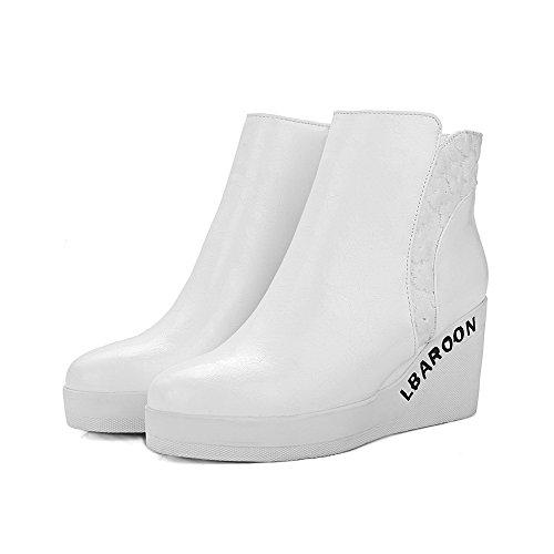VogueZone009 Damen Weiches Material Rund Zehe Rein Knöchel Hohe Wedges Stiefel Weiß