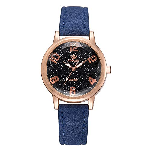 IG Invictus Temperament Lady Irregular Spiegel Leder Belt Analog Quartz Uhr RINNAGY Ms. Irregular Mirror Belt Watch Analoge Uhr Blau