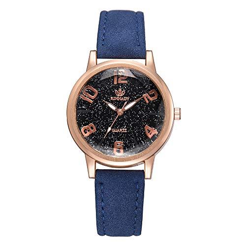 IG Invictus Luxus Temperament Lady Irregular Spiegel Leder Belt Analog Quartz Uhr RINNAGY Ms. Irregular Mirror Belt Watch Analoge Uhr Blau