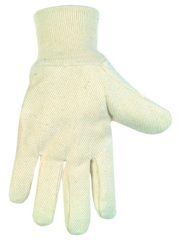 MCR Safety 8100A Cotton/Polyester Blend Canvas Knit Wrist Men's Gloves with Clute Pattern and Wing Thumb, White, Large, 1-Pair by MCR Safety -