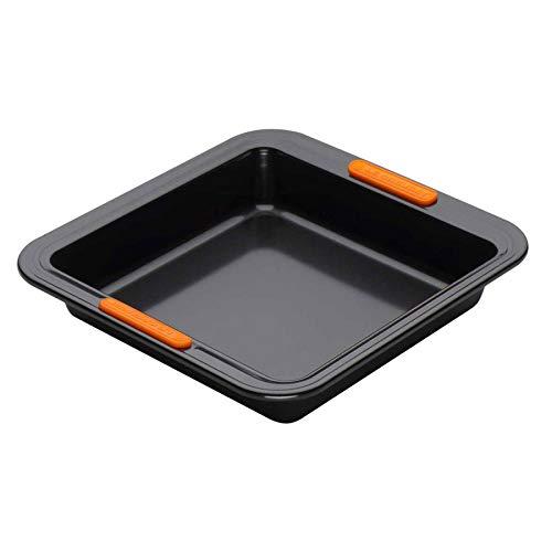 Le Creuset Antihaft Backform, Quadratisch, 23 x 23 x 5 cm, PFOA-frei, Sauerteigbeständig, aus Karbonstahl gefertigt, anthrazit/orange -