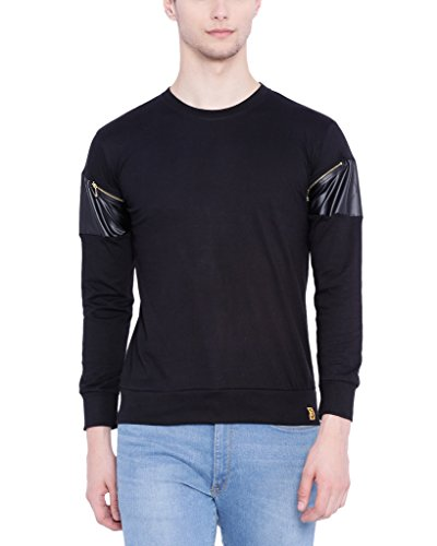 Campus Sutra Men Full Sleeve Arm Zip T-Shirt (SSU16LDR_RNFSARZPT_M_PLN_BL_XL)