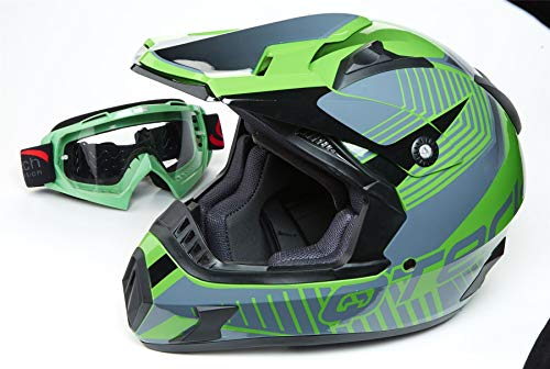 Offroad Motocross Motorrad Helm Cross Enduro Quad MX MTB ECE22-05 - Grün mit Brille - S (55-56cm) 05 Brille