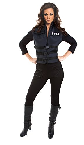Underwraps Black Swat Team Officer Jumpsuit Costume
