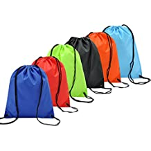6 Pack Zaino Borse Da Viaggio Borsa Morbida Coolzon® Sacca da Ginnastica di Nylon Sacchetto Portatile Pieghevole a Spalla Per Palestra Drawstring Bag Gymsack