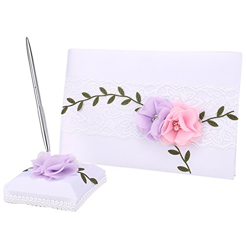hrph Hochzeiten Decor Flower Gästebuch mit Stift & Kugelschreiber Ständer Sets Satin Spitze Signature Buch Party Supplies - Ring-kissen Gästebuch,