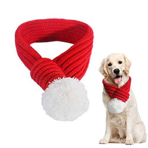PEDOMUS Haustier Kostüm Weihnachten Schal rot Pet Schal Haustier Bekleidung für Hunde und Katzen (L)