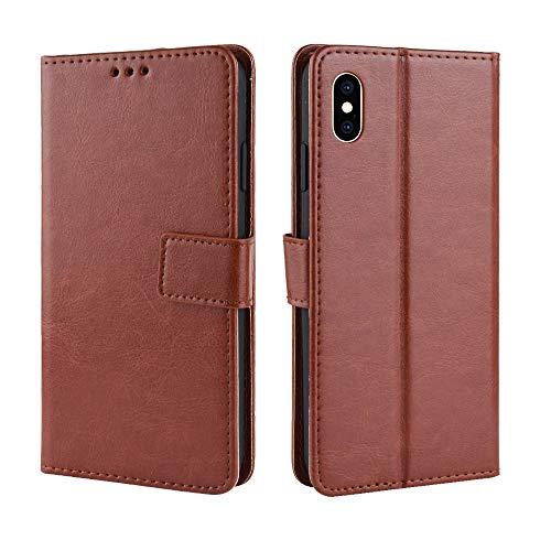 Flip Case für iPhone XS Max 6,5 Zoll Crazy Horse Muster Textur Schutz Flip Kunstleder Wallet Style Handy-Tasche mit kurzem Sling (Color : Braun) -