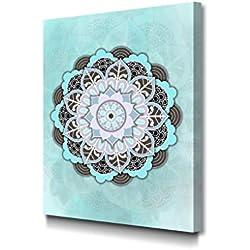 Foto Canvas Cuadro Mandala Azul | Lienzos Decorativos - Decoración Pared - Cuadros de Salón | 30 x 40 cm sobre Bastidor de Madera Grueso Listos para Colgar