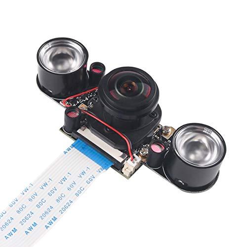 MakerHawk Raspberry Pi3 Kamera IR Fisheye 175 Grad 5MP OV5647 Webcam Eingebauter IR-Cut Automatischer Wechsel zwischen Day-Vision und Night-Vision Shooing-Modus für Raspberry Pi 3/2 / B + Ir-kamera
