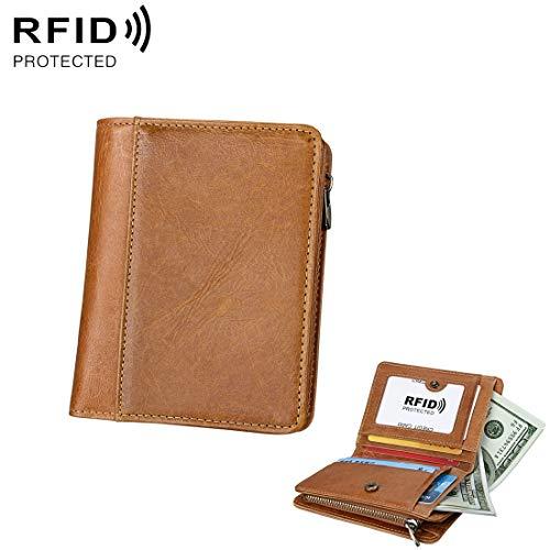 95eb172556fb Único Antimagnetic RFID Men Fashion Crazy Horse Textyure Genuine Leather  Wallet Card Bag (Color : Marrón)