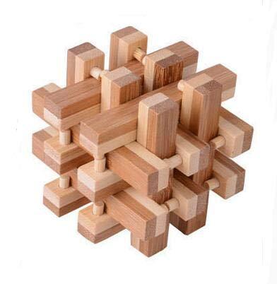 XuBa Schreibtisch Neuheit Klassische IQ Bambus Grat Puzzle Denksport Spiel für Erwachsene Größe 7,5 cm as picture show (Für Erwachsene Denksport-spiele)