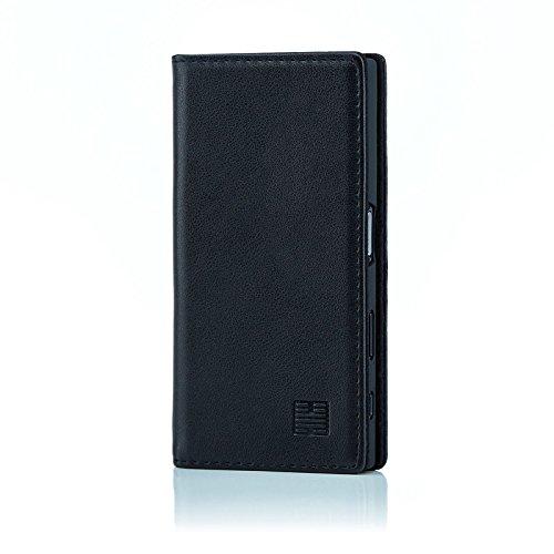 32nd Klassische Series - Lederhülle Case Cover für Sony Xperia X Compact, Echtleder Hülle Entwurf gemacht Mit Kartensteckplatz, Magnetisch und Standfuß - Schwarz