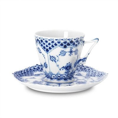 Blue Fluted Full Lace 5 Oz Cup and Saucer by Royal Copenhagen - Blue Fluted