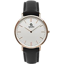 Qudo Ladies Watch Silvertone Black 4s White 803502