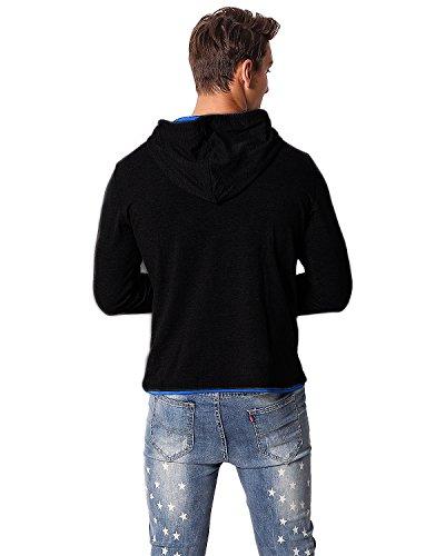 MODCHOK Herren Sweatshirt Kapuzen Pullover Pulli Hoodie Sweatjacke Slim Fit Schwarz-Blau