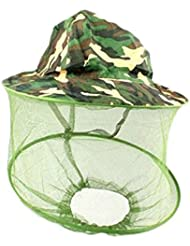 hjuns Motif camouflage Casquette en maille filet capuche Anti Mosquito Chapeau de pêche