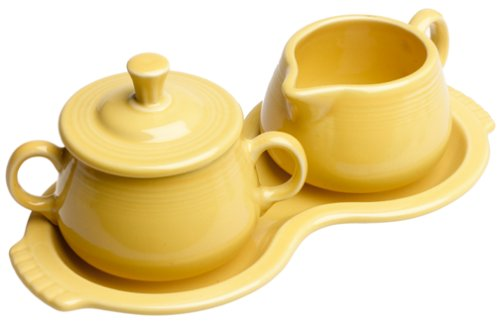 Fiesta Covered Sugar and Creamer Set with Tray, Sunflower by Homer Laughlin Creamer Tray Set