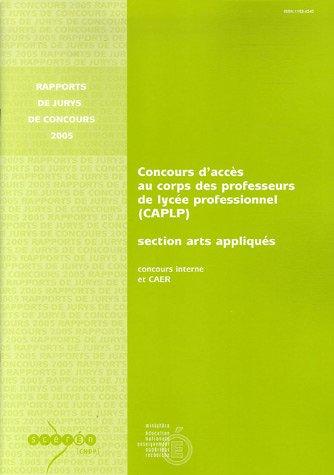 Concours d'accès au corps des professeurs de lycée professionnel (CAPLP) section arts appliqués : Concours interne et CAER
