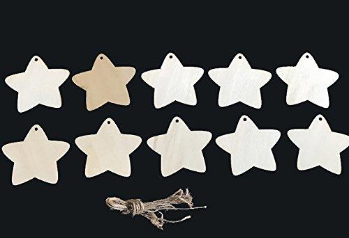 Da.Wa 10 Piezas de Madera en Blanco Estrella Formas Decoración árbol de Navidad Colgante Madera Artesanía Etiquetas con Agujero