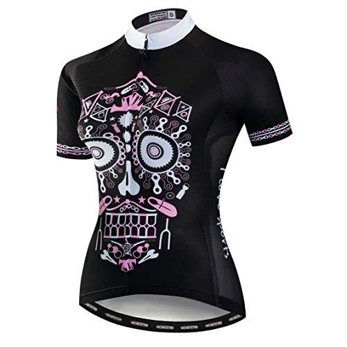 Kurzarm-shirt Reiten (Weimostar Radfahren Jersey Frauen MTB Road Tops Pro Team Sport Bluse Kurzarm Bike Shirts Outdoor Reiten Jersey Fahrrad Jacke Schädel Pink Größe XL)