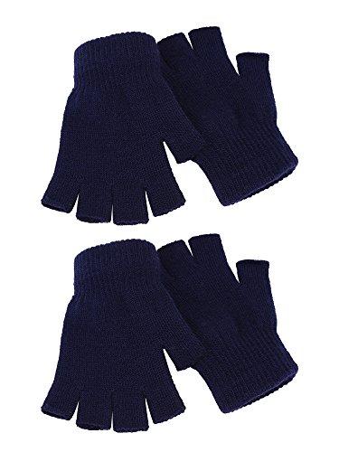 2 Paar Unisex Halbe Fingerhandschuhe Winter stretchy Stricken Fingerlose Handschuhe in Gemeinsamen Größe (Navy blau)