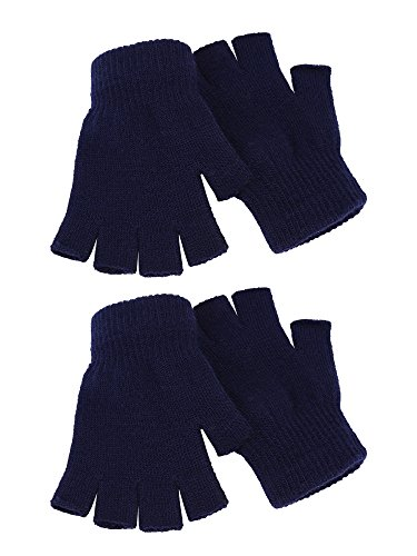 2 Paar Unisex Halbe Fingerhandschuhe Winter stretchy Stricken Fingerlose Handschuhe in Gemeinsamen Größe (Navy blau) (Stricken Handschuhe Fingerlose)