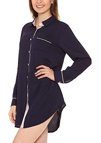 Yulee Damen Nachthemd aus Kunstseide in Blockfarben Schwarzblau