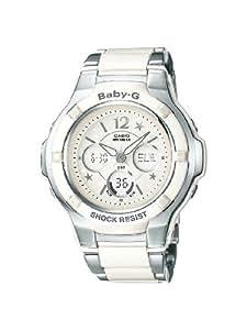 Casio - Femme - BGA-120C-7B1ER - Quartz Analogique et Digital - Chronographe - Alarme - Rétro éclairage - Cadran Blanc - Blanc - Acier Inoxydable