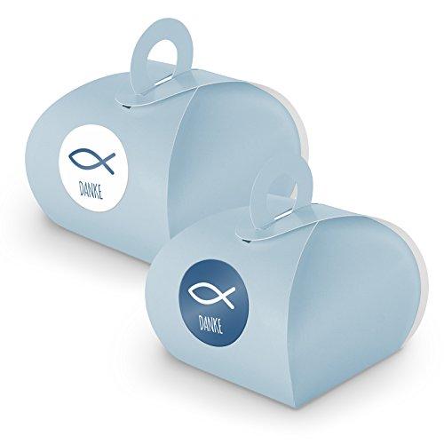 itenga Set 24x Geschenkschachtel mit Griff + Sticker Gastgeschenk (Set Danke Fisch (Motiv33), blau)