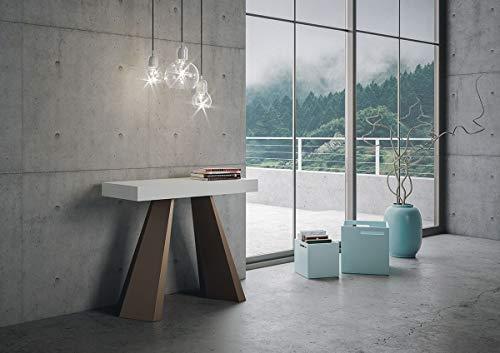 itamoby Consolle Allungabile in Legno e Ferro H77x40x90/300cm Diamante Bianco Frassino Orso Classica