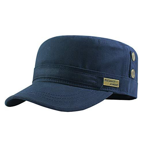 GAZHFERY Cotton Atmungsaktiver Flacher Top Hut Im Freien Reifen Mittleren Alters Hut,Darkblue-XXL62-68cm - Hüte Top Männer