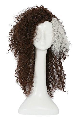 ang Braun Lockig Haar für Erwachsene Verrücktes Kleid Cosplay Kostüm Zubehör Merchandise ()