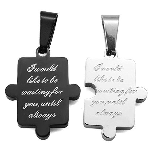 Jstyle Edelstahl Puzzle- Anhänger Beste Freunde Halskette Paare Freundin Kette Valentines Schmuck Kette:55 cm Anhänger Größe:26*20mm