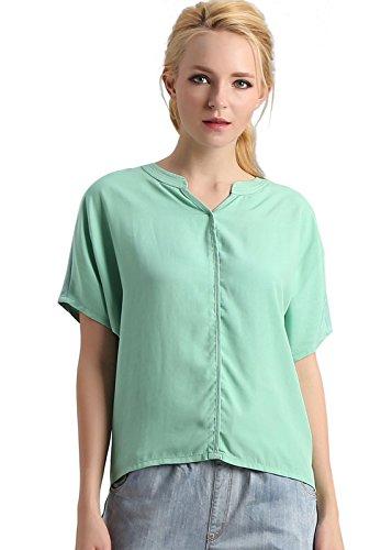 Luna et Margarita Top donna aqua unico piccolo manica della camicia con scollo a V Aqua bat ampie dimensioni taglia 44