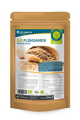 FP24 Health Flohsamen Bio 99% Reinheit 1500g - Rückstandskontrolliert - 1,5kg indische Flohsamen im Zippbeutel - Top Qualität