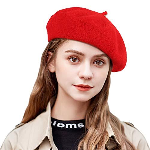 Tacobear Boina Mujer Francesa Lana Clásico Retro Boina Sombrero Otoño Invierno Artista Gorro Boina Vasca para Mujer (Rojo)