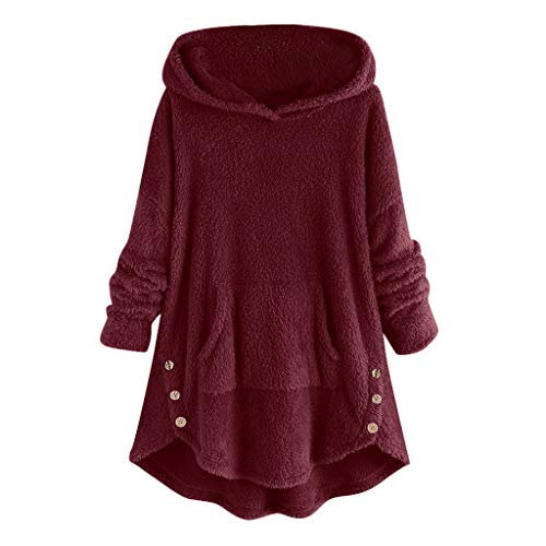 Andouy Damen Fuzzy Faux Fleece Sweatshirt Mäntel Asymmetrie Hem Hoodie Übergroß Taschen Pullover(XL.Wein)